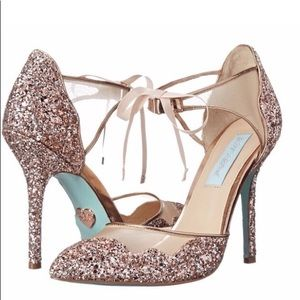 Betsey Johnson Stela Champagne glitter heels